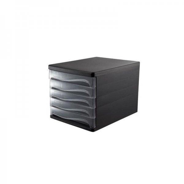 Comix συρταριέρα πλαστική με 5 συρτάρια μαύρη